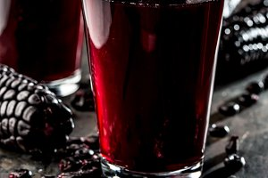 PERUVIAN PURPLE CORN DRINK. Chicha morada purple sweet traditional peruvian corn drink.