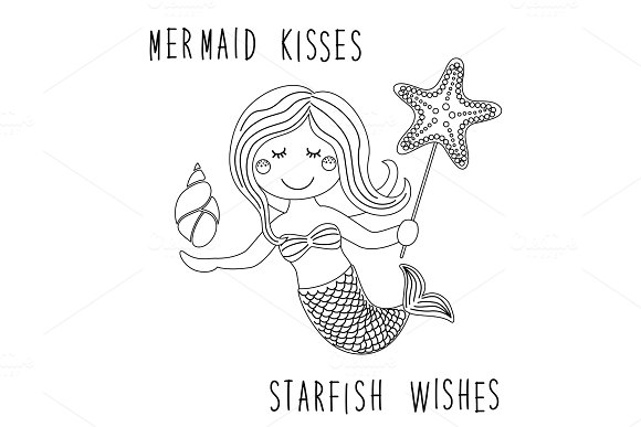 Cute Childish Hand Drawn Cartoon Character Of Little Mermaid With Sea Starfish Shell As Coloring Page