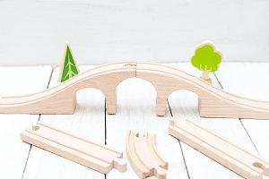 Kids wooden bridge. Organic toys