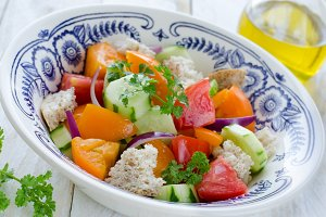 Fresh vegetables Tuscan salad Panzanella