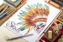 Skull set (watercolor,vector)
