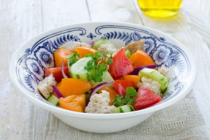 Fresh vegetables Tuscan salad Panzanella
