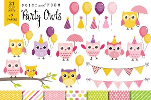 50% Off Girl Birthday Owl Clip art