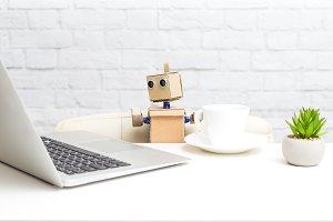 Robot drink coffee. Future
