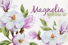 Magnolia set (watercolor, vector)