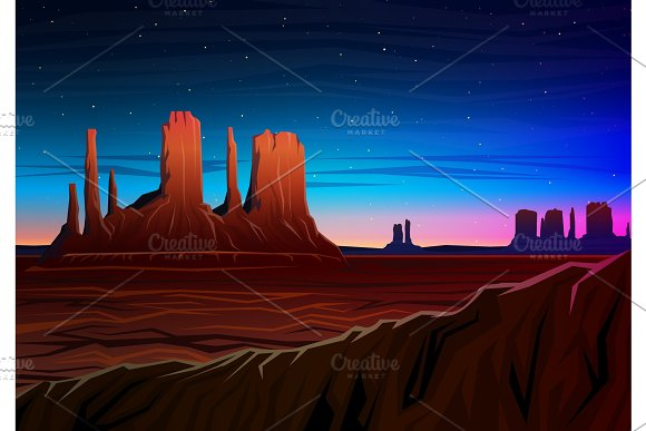 Mountain And Monument Valley Night Panoramic View Peaks Landscape Early In Daylight Travel Or Camping Climbing Vector Illustration For Website Or Banner Outdoor Hill Tops Hunts Mesa Arizona