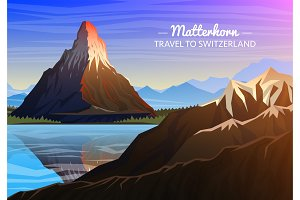 Mountain matterhorn, Evening panoramic view of peaks with waterfall, landscape early in a daylight. travel or camping, climbing. Outdoor hill tops, Zermatt, Switzerland, Valais region.