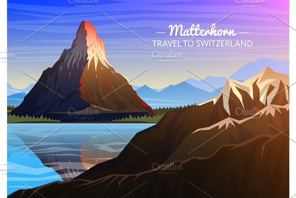 Mountain Matterhorn Evening Panoramic View Of Peaks With Waterfall Landscape Early In A Daylight Travel Or Camping Climbing Outdoor Hill Tops Zermatt Switzerland Valais Region