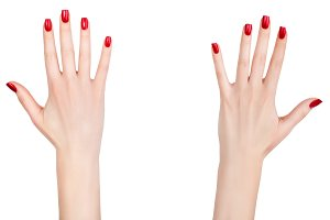 Two female hands with manicure.