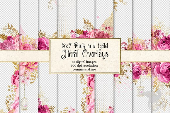 5x7 pink and gold floral overlays illustrations creative market mightylinksfo