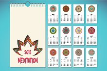 Calendar in ethnic style. 2015 year