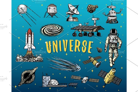 Astronaut Spaceman Planets In Solar System Astronomical Galaxy Cosmonaut Explore Adventure Engraved Hand Drawn In Old Sketch Vintage Style Space Shuttle Telescope Robot And Mars Lunar Rover