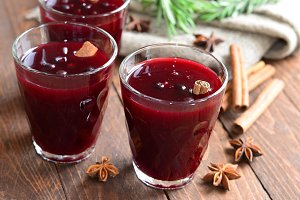 Berry drink, kissel in glasses with spices