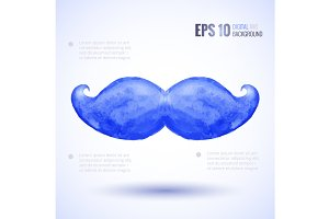 Watercolor moustaches set