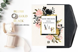 Blush Gold Black. Floral graphics.