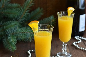 Mimosa cocktail with orange juice and champagne
