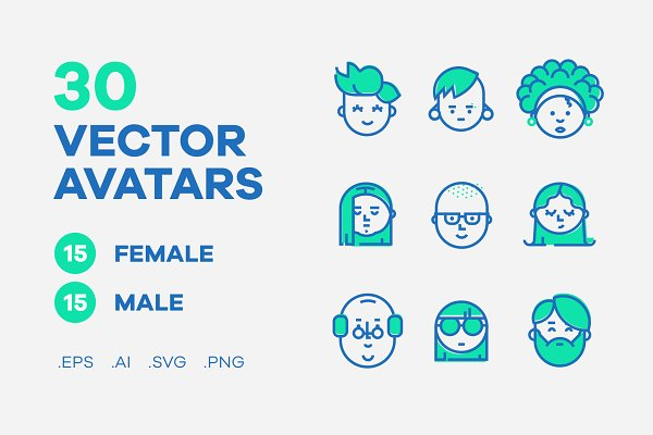Icons: Woorkshop - Vector collection of 30 avatar icons
