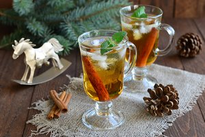 Whiskey cocktail on Christmas background