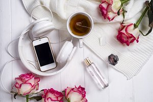 tea and roses. Valentine's Day or 8 march . Delicious Breakfast.