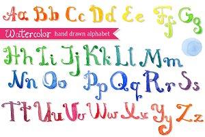Watercolor hand drawn abc