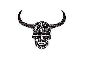 Devil skull black and white