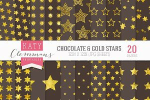 Chocolate & Gold stars paper pack