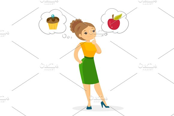 Caucasian woman choosing between apple and cupcake in Illustrations