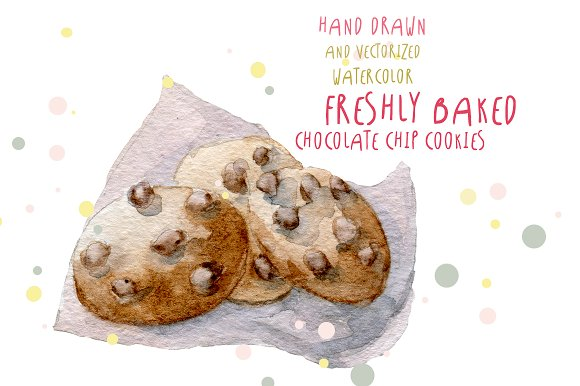 Watercolor chocolate chip cookies