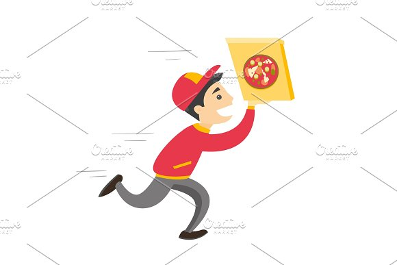 Young Caucasian White Man Running With Pizza