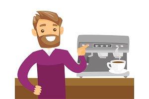 Young caucasian white man making coffee.