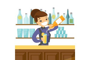 Young caucasian white bartender making a cocktail.