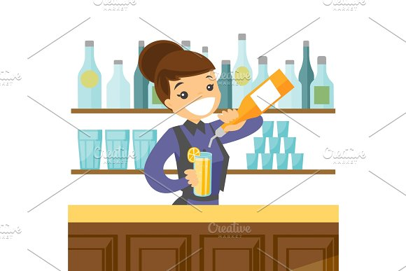 Young Caucasian White Bartender Making A Cocktail
