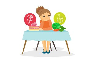 Young woman choosing between vegetables and cake.