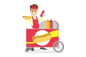 Caucasian white street seller making a hot dog.