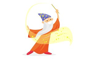 Magician with long white beard waving magic wand.