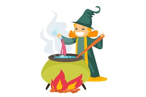 Red hair witch cooking the potion in the boiler.