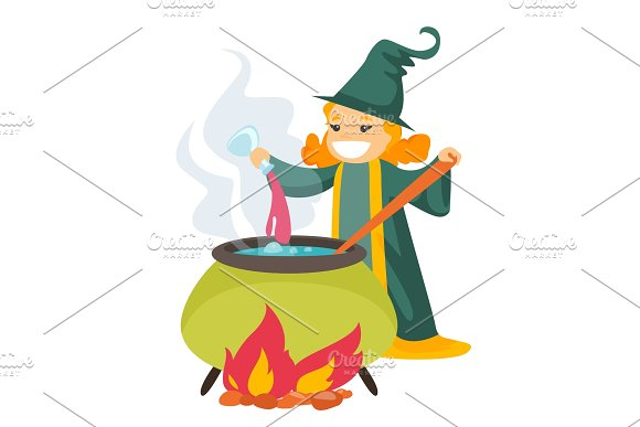 Red Hair Witch Cooking The Potion In The Boiler