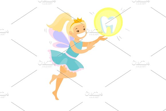 Cute Blonde Tooth Fairy Flying With A Tooth