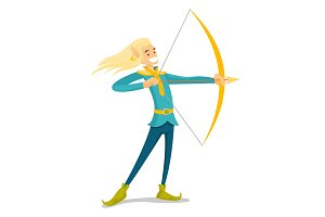 Young blonde elf hunting with a bow and an arrow.