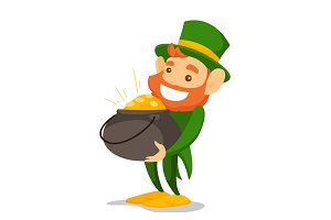 Leprechaun in green costume holding pot of gold.