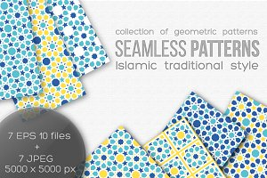 Set of seamless islamic patterns.