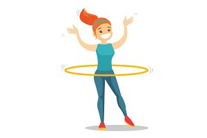 Caucasian woman doing exercises with hula hoop.
