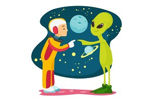 Astronaut and alien meet for the first time.