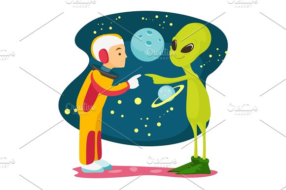 Astronaut And Alien Meet For The First Time