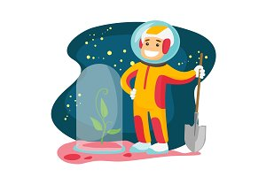 Caucasian astronaut planting tree on a new planet.