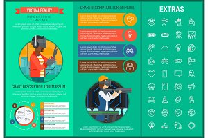 Virtual reality infographic template and elements.