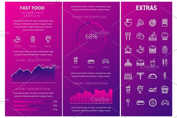 Fast Food Infographic Template And Elements