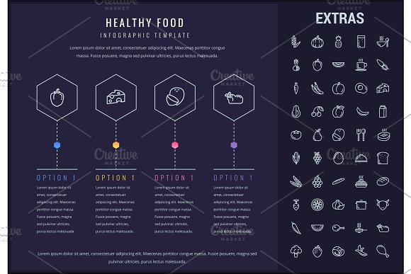 Healthy Food Infographic Template Elements Icons