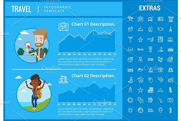 Travel Infographic Template Elements And Icons