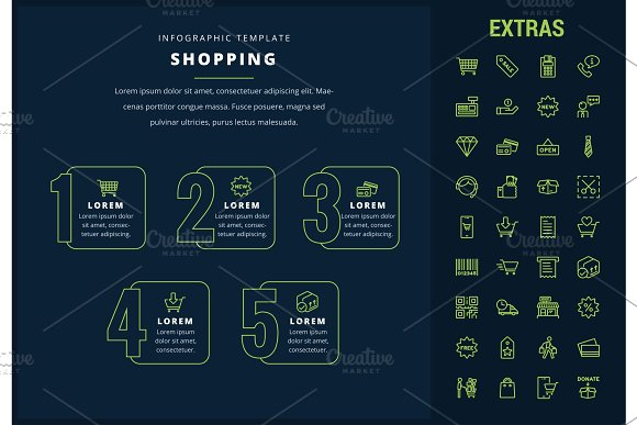 Shopping Infographic Template Elements And Icons